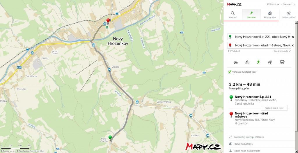 Mapa pěší trasy z chalupy Vranečka k památníků Antonína Strnadla.